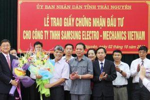 Điều chỉnh dự GCN đầu tư tại Thái Nguyên